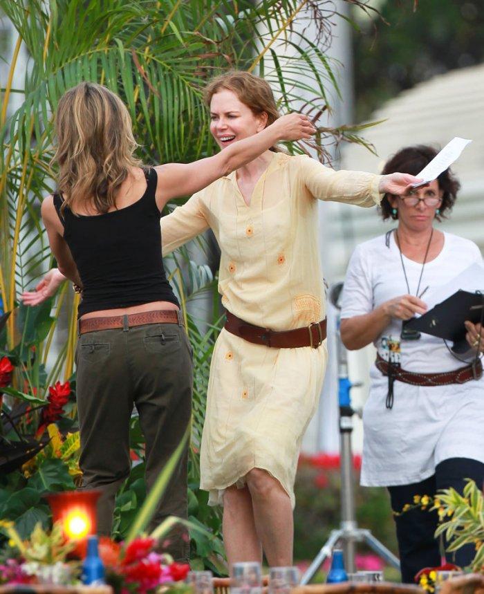 Jennifer Aniston и Nicole Kidman на съемках